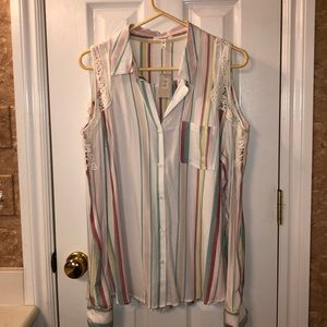 NWT Maurices Cold Shoulder Button Down Blouse